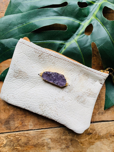 LEATHER COWHIDE CRYSTAL CLUTCH