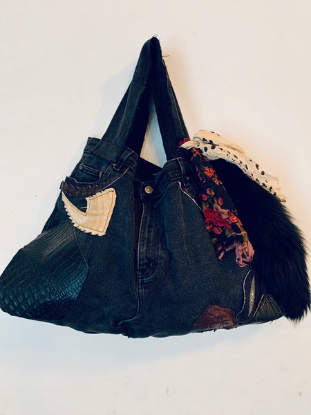 DISTRESSED DENIM PATCHWORK TOTE