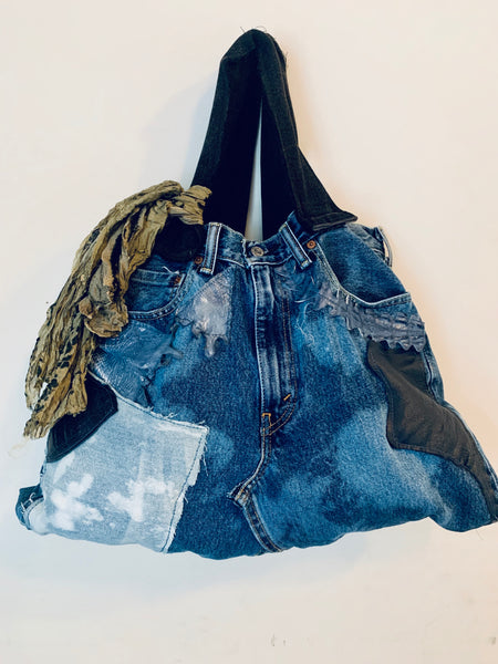 TWO-TONE DISTRESSED DENIM PATCHWORK TOTE