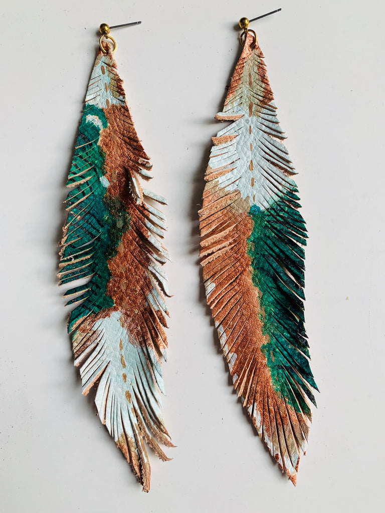 HAND-PAINTED LEATHER FEATHERS - TROPICAL