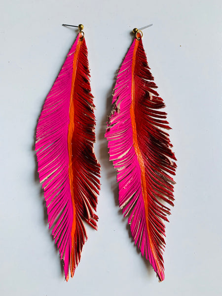 HAND-PAINTED LEATHER FEATHERS - BRIGHTS