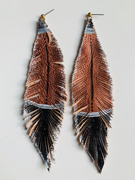 HAND-PAINTED LEATHER FEATHERS - METALLICS