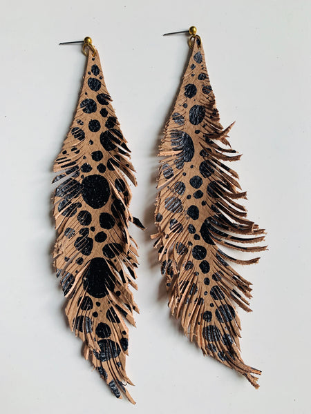 HAND-PAINTED LEATHER FEATHERS - ANIMAL PRINT
