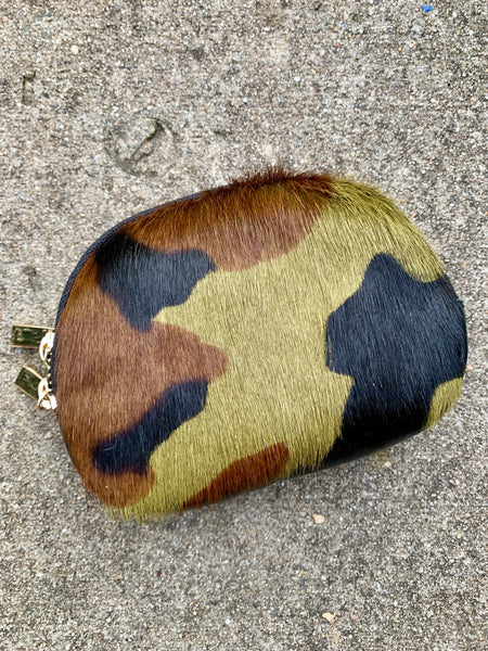 CAMO COWHIDE MAKE-UP BAG