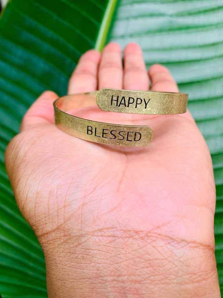 SENTIMENT BRACELET - HAPPY BLESSED