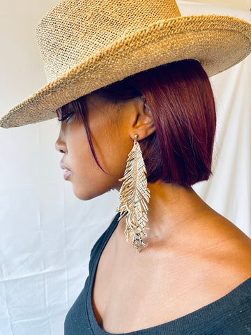 MAYAN LEATHERS FEATHER EARRINGS