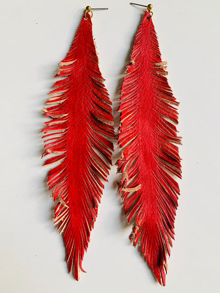 HAND-PAINTED LEATHER FEATHERS - NUETRALS