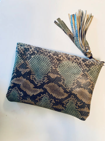 PYTHON LEATHER POUCH
