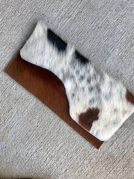 HANDCUT RECTANGULAR COWHIDE CLUTCH