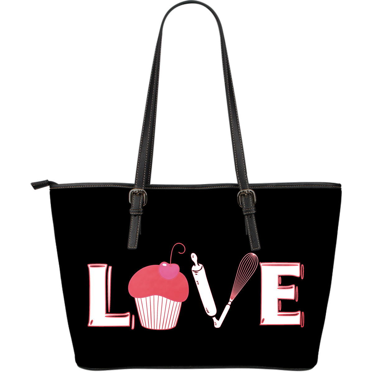 Love Baking Large Leather Tote Bag