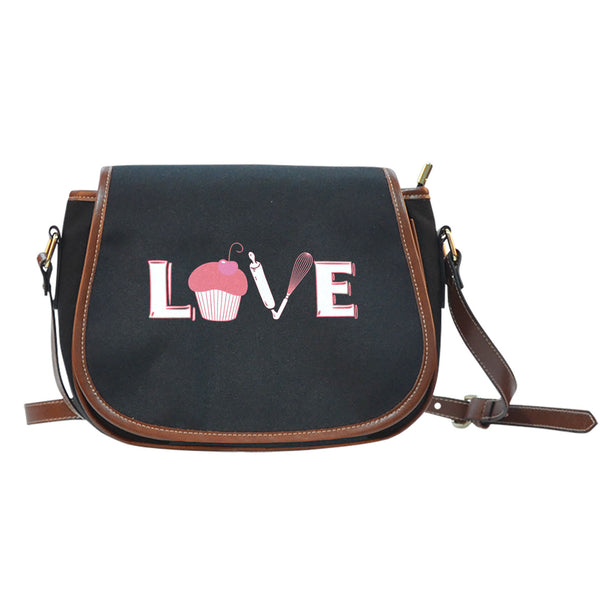 Love Baking Canvas Leather Saddle Bag