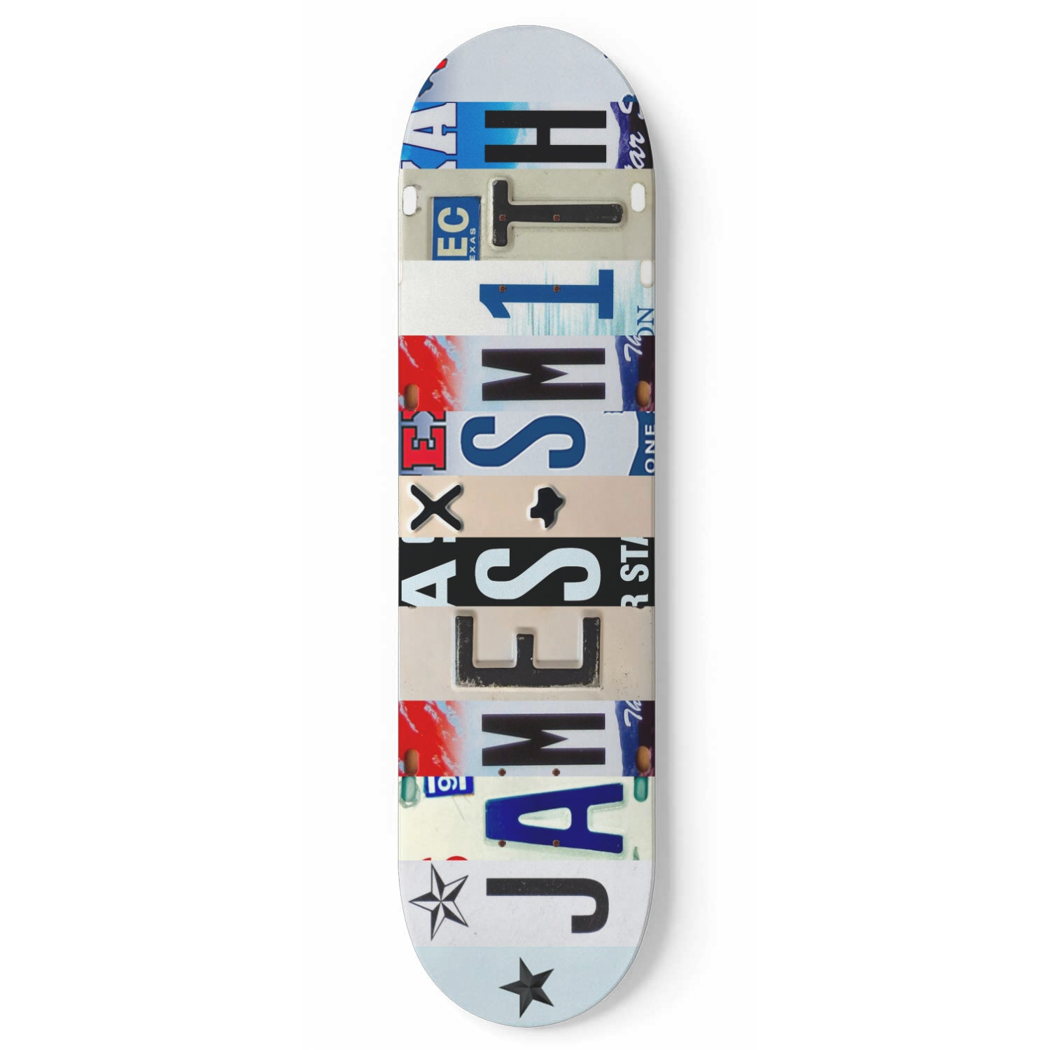 Personalized Skateboard Texas License Plate Design