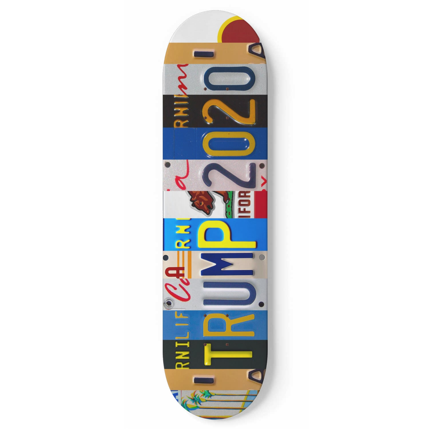 California License Plate Design Trump 2020 Skateboard