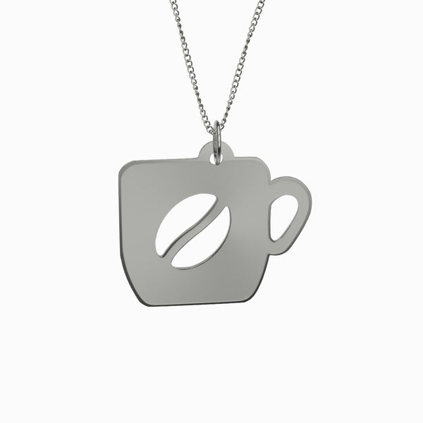 Sterling Silver Coffee Cup Necklace