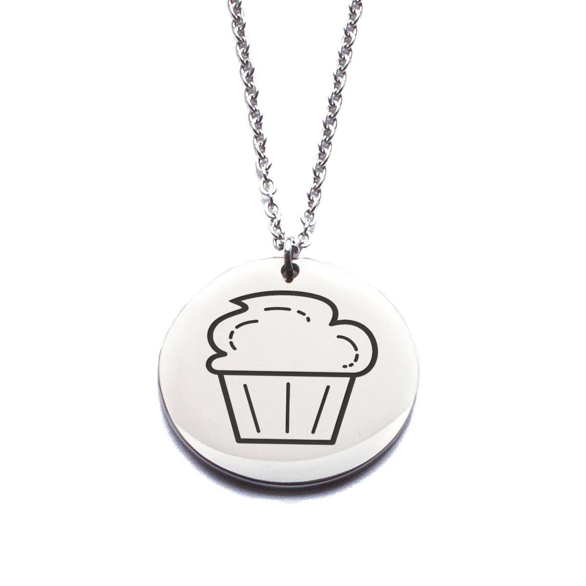 Stainless Steel Cupcake Laser Engraved Necklace