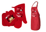 Kiss The Cook Valentine's Apron & Mitt Holder Set