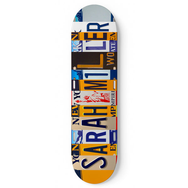 Personalized Skateboard New York License Plate Design