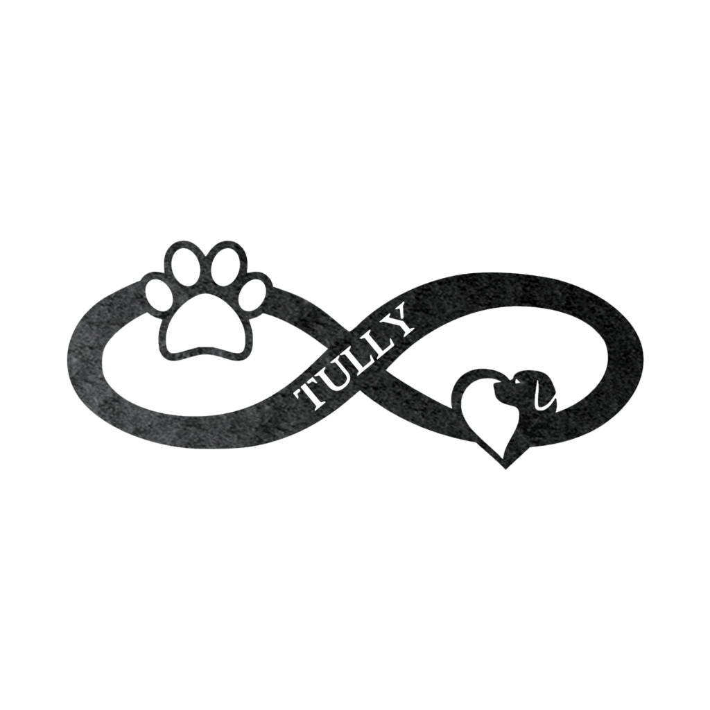 Infinite Heart Dog Paw Personalized Steel Wall Sign