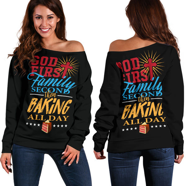 God First - Family Second - Baking All Day Sweater
