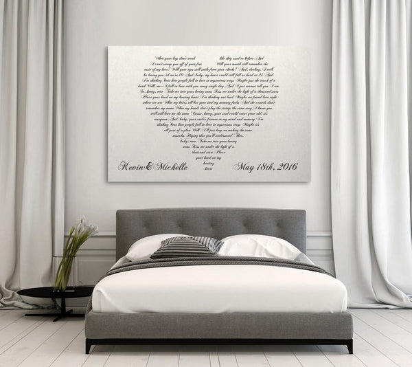 Wedding Song For Bridal Party: Personalized Canvas With Heart Shaped Wedding Song/Vows