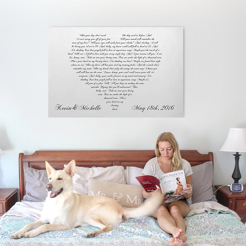 Personalized Canvas With Heart Shaped Wedding Song/Vows Lyrics