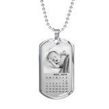 Personalized Baby Photo Calendar Dog Tag Necklace