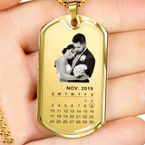Personalized Wedding Photo Calendar Dog Tag Necklace