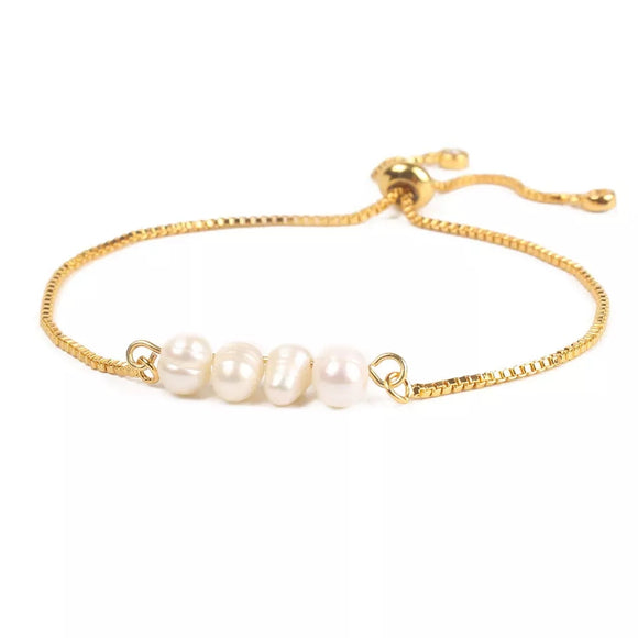 Stainless Steel Pearls Adjustable Bracelet