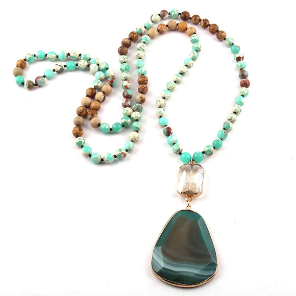 Chrysoprase Stone Long Necklace