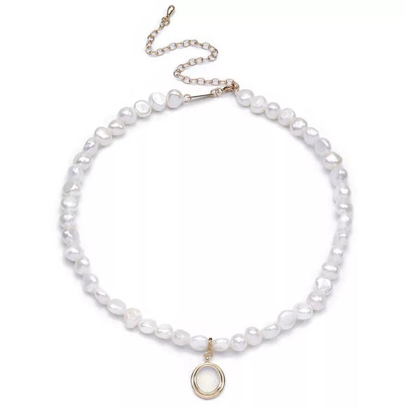 Pearl & Opal Pendant Sterling Silver Necklace