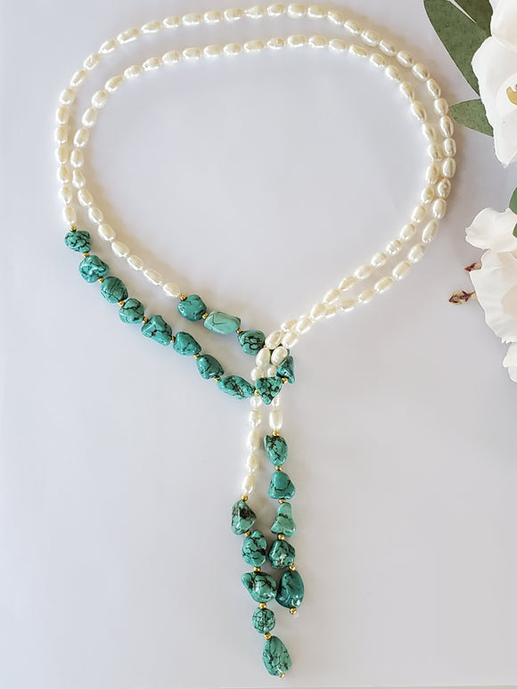 Pearl & Turquoise Adjustable Necklace