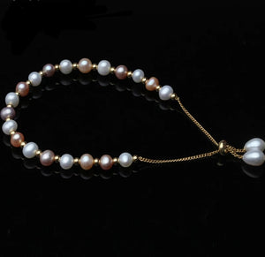 Sterling Silver & Pearl Adjustable Bracelet