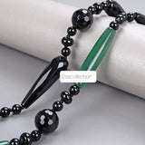 Green Agate & Black Onyx Long Necklace