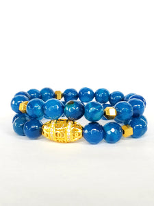 BLUE AGATE SET BRACELET