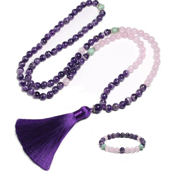 SET AMETHYST & ROSE QUARTZ NECKLACE