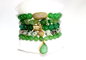 Green Jade Stone Set Bracelets W/Charms