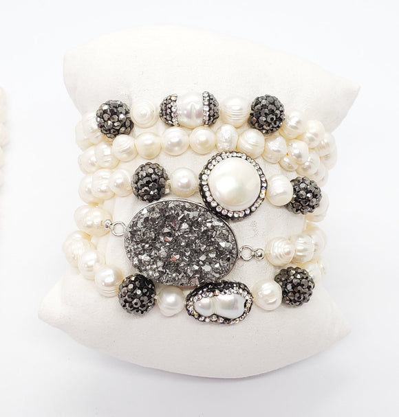 Fresh Water Pearl & Druzy Set Bracelet