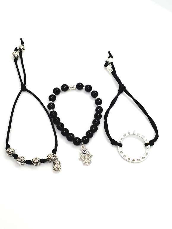 Black Onyx Set Bracelets ( Protection )
