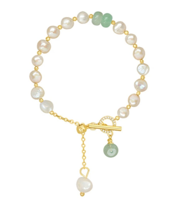 Pearl & Jade Adjustable Bracelet