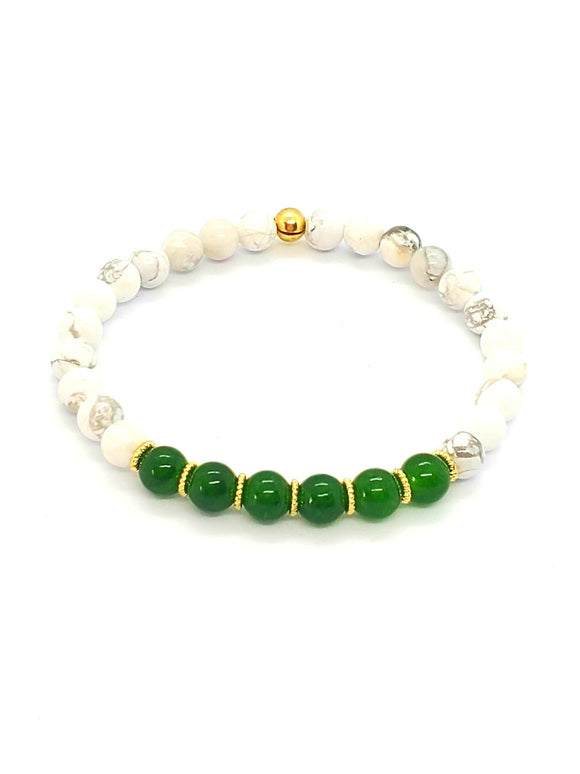 Green Jade & Howlite Stretch Bracelets