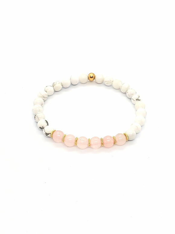 Rose Quartz & Howlite Stretch Bracelets