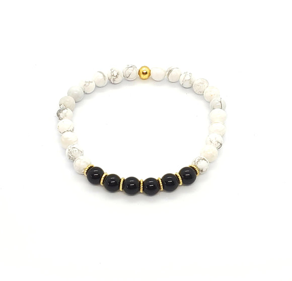 Black Onyx & Howlite Stretch Bracelets