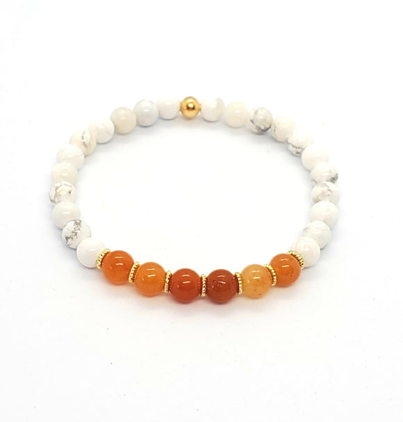 Red Aventurine & Howlite Stretch Bracelets 1