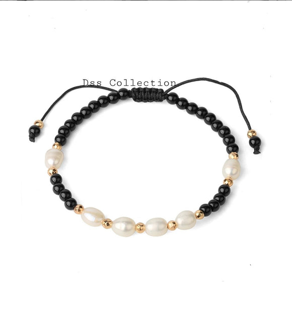 Black Obsidian & Pearl Adjustable Bracelet
