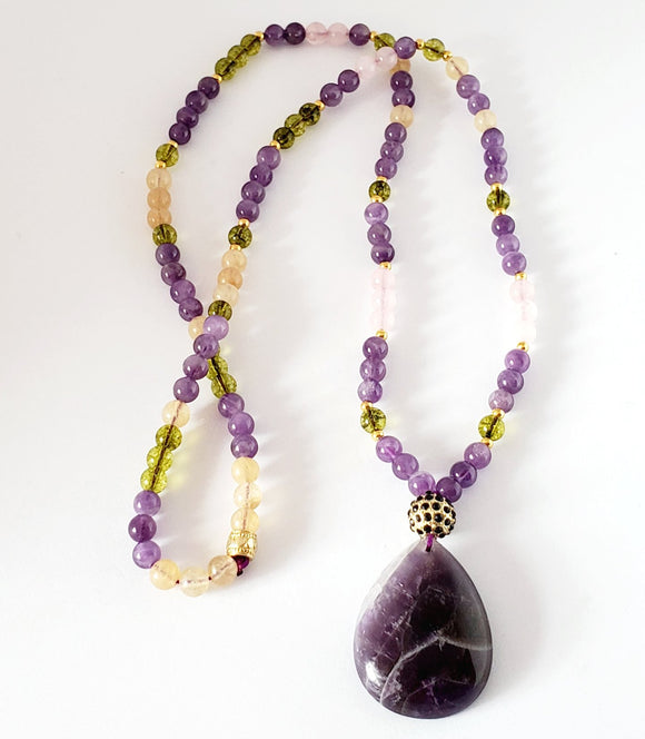 Amethyst, Peridot, Rose Quartz Necklace