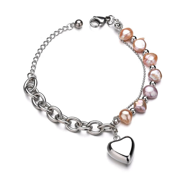 Stainless Steel & Pearls Double Bracelet