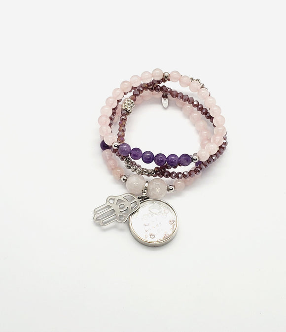 Rose Quartz & Amethyst Set Bracelets