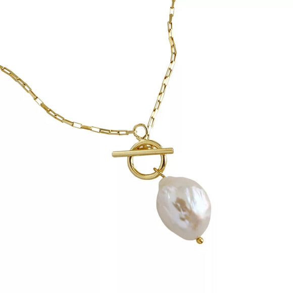 Sterling Silver & Baroque Pearl Necklace