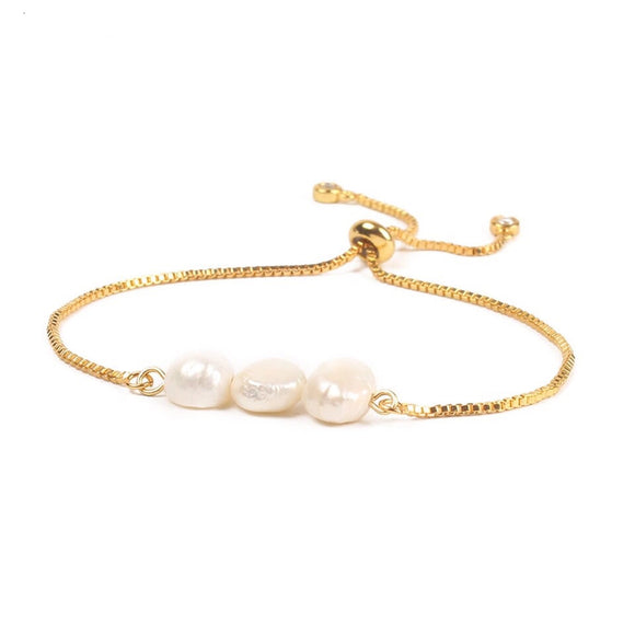 Pearl Stainless Steel Adjustable Bracelet