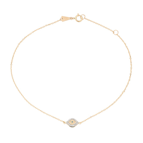 Super Tiny Pavé Evil Eye Anklet